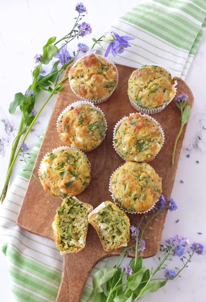 Zucchini Spinach & Feta Muffins